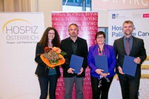 PreisträgerInnen des Hildegard Teuschl Preis von links nach rechts; Sonja Prieth, Klaus Wegleitner und Patrick Schuchter (nicht im Bild), Karin Jacobs, Günter Polt